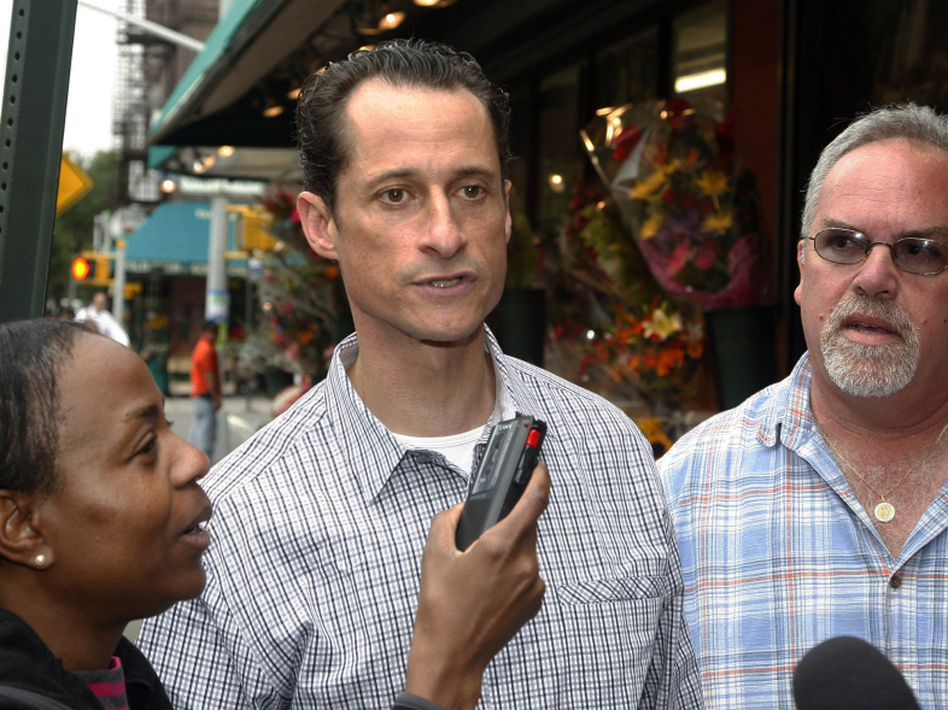 Rep. Anthony Weiner interviewed by journalists near his Queens home, Saturday, June  11, 2011. (AP)