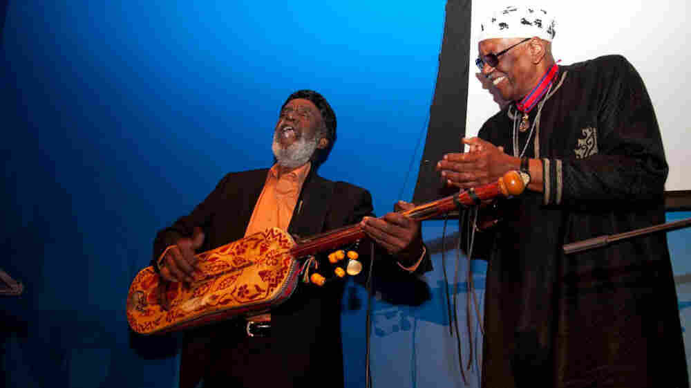 Abdullah El Gourd (with the guembri) and Randy Weston.