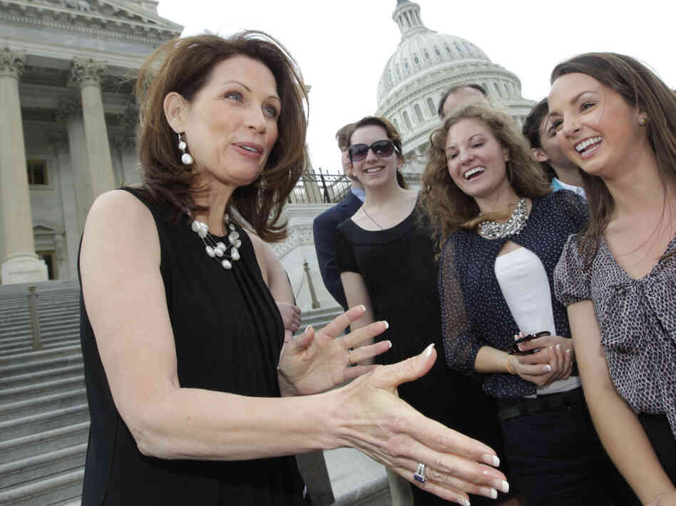 Rep. Michele Bachmann, R-Minn., greets supporters and well-wishers on the steps of the House of Representatives in Washington, June 16, 2011.
