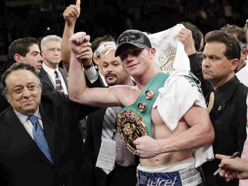 Saul Alvarez celebrates after his win over Matthew Hatton in their WBC super welterweight title boxing match on March 5. Alvarez will defend his title on Saturday in Guadalajara, against challenger Ryan Rhodes.