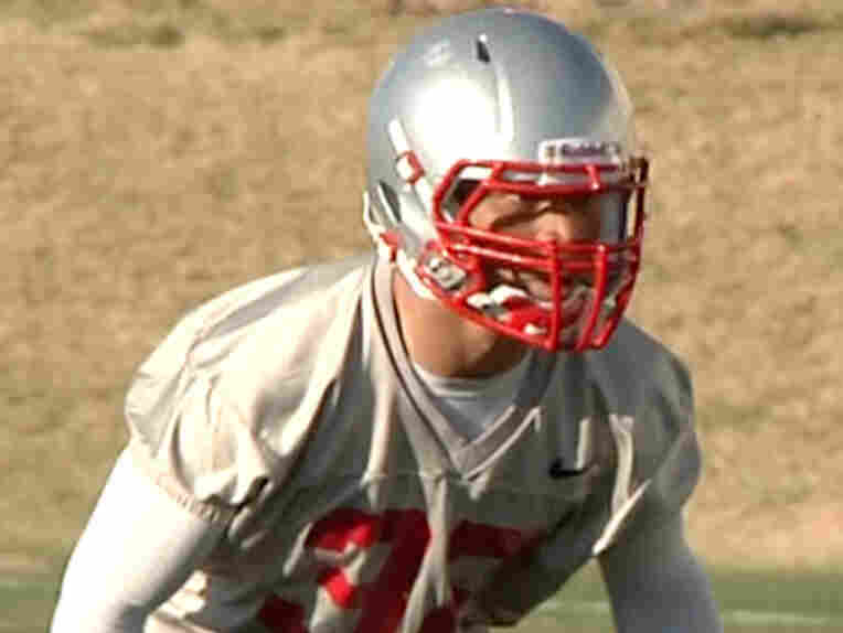 In an image taken from an April 2011 video, provided by the University of New Mexico, Deshon Marman takes part in football practice in Albuquerque, N.M.