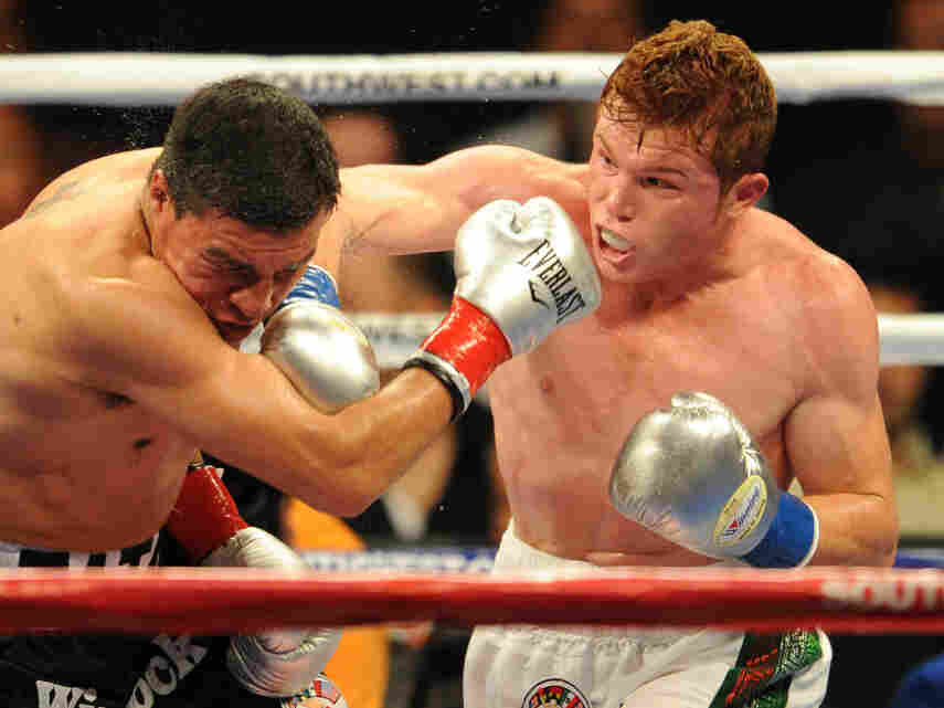 Saul Alvarez of Mexico (right) lands a punch before knocking out opponent Carlos Baldomir of Argentina at a fight in 2010. In March, Alvarez became the WBC super welterweight champion and will defend the title Saturday in his hometown of Guadalajara.