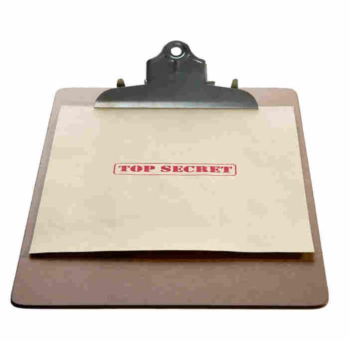 A clipboard with a top secret folder.