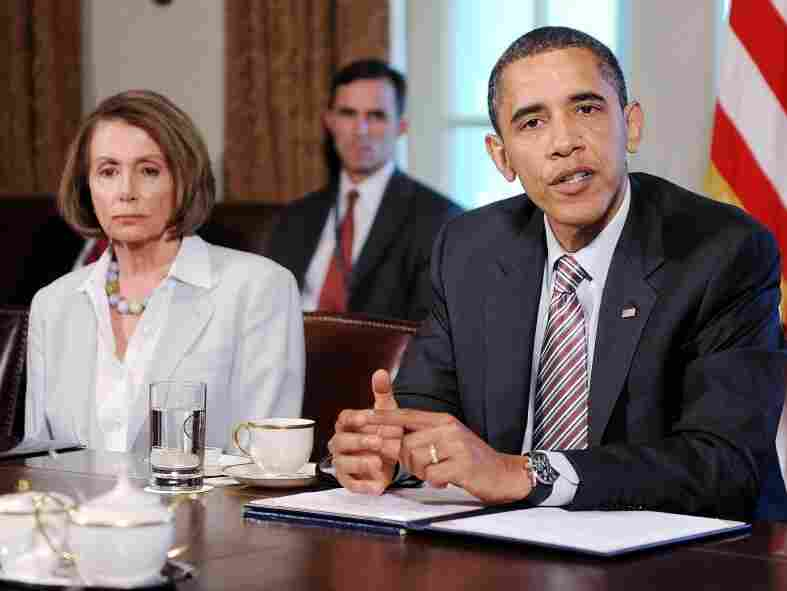 President Obama meets with congressional leaders at the White House as then-House Speaker Nancy Pelosi listens. Both the president and Pelosi said publicly that Anthony Weiner should resign following a sex scandal.