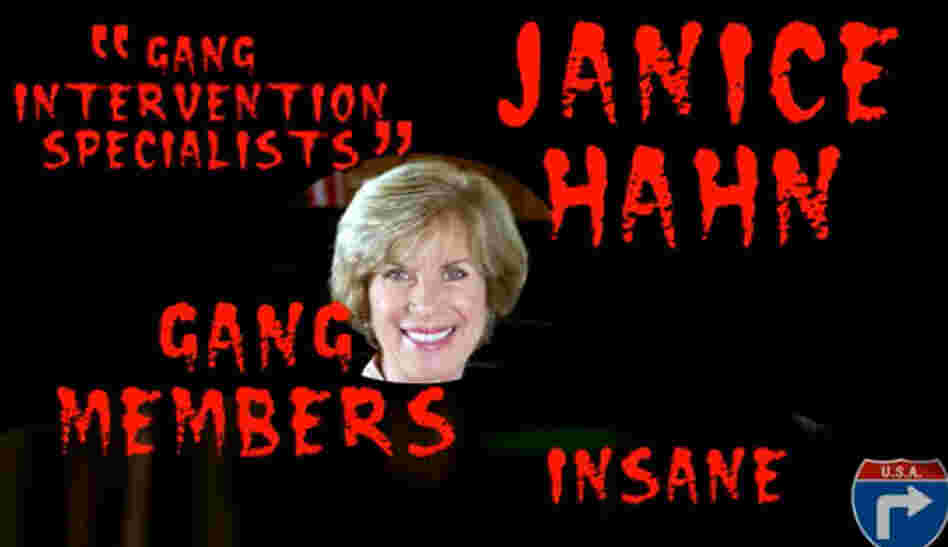 A screenshot from an ad targeting Democrat Janice Hahn. The ad, created by independent conservative filmmaker Ladd Ehlinger Jr., features a scantily clad woman gyrating around a stripper pole, while two black men armed with semi-automatic rifles rap.