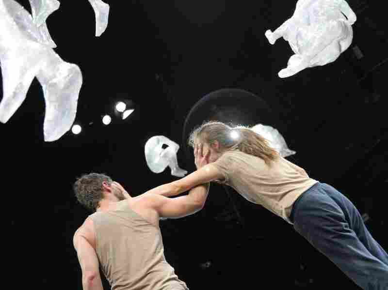 """This scene is from a performance of """"Is Maybe"""" by Jared Gradinger and Angela Schubot. """"Is Maybe"""" runs until June 19th."""