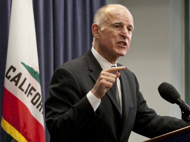 California Gov. Jerry Brown, Thursday, June 16, 2011 at a Los Angeles news conference.