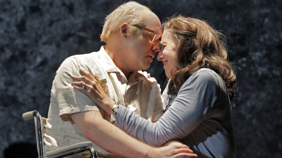 Brian Mulligan as Leon Klinghoffer and Nancy Maultsby as  Marilyn Klinghoffer in the 2011 Opera Theatre of Saint Louis production of <em>The  Death of Klinghoffer</em>.