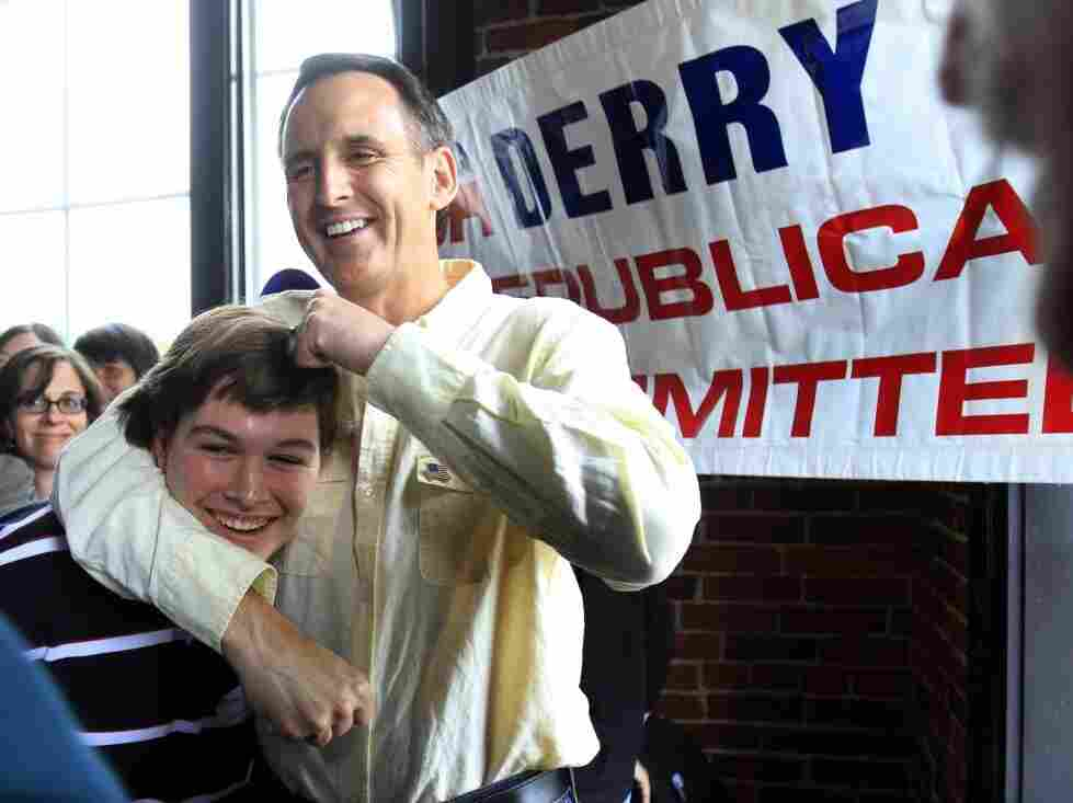 Tim Pawlenty gives a young man a noogie at a New Hampshire meet-and-greet.