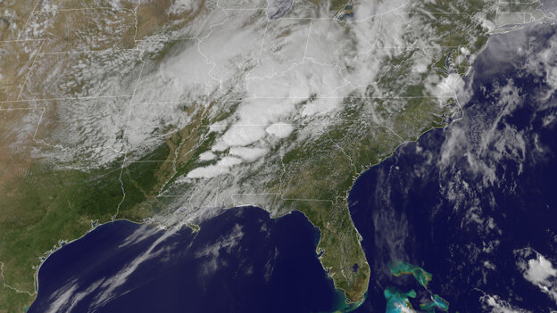 This image from April 27 shows a series of tornadoes forming over Alabama and Mississippi. Captured from a satelli