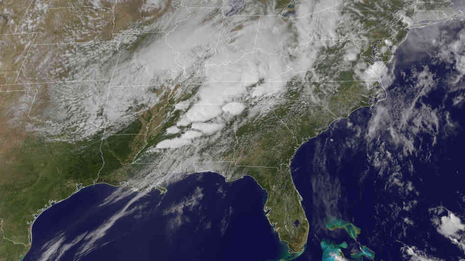 This image from April 27 shows a series of tornadoes forming over Alabama and Mississippi. Captured from a satellite orbiting located at a fixed location above Earth, images like these help track trends in weather patterns. Another set of polar-orbiting satellites are useful for long-term forecast predictions.