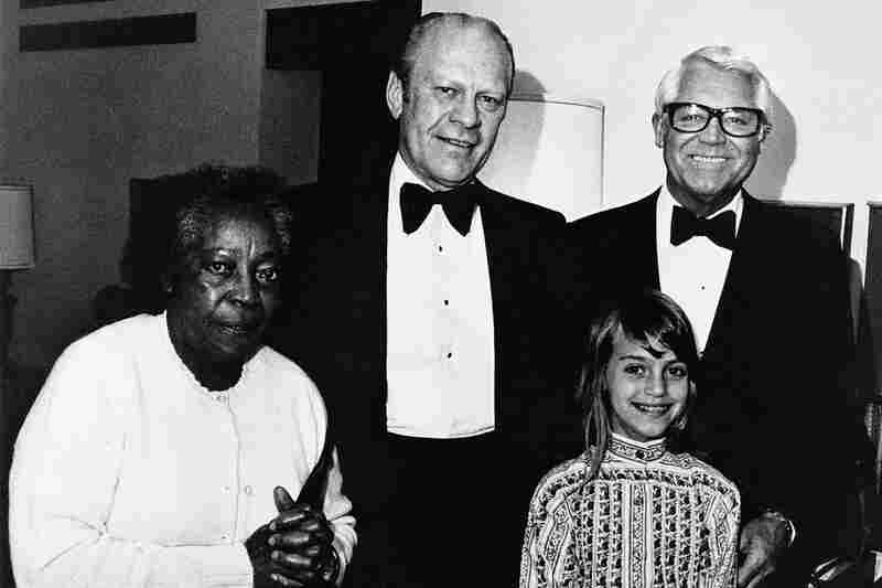 Jennifer and Cary Grant are photographed with housekeeper Willie and President Gerald Ford in California.