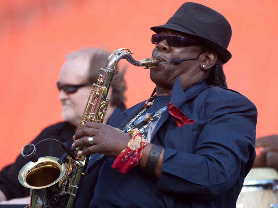 Clarence Clemons performing during halftime of an NFL game last November.