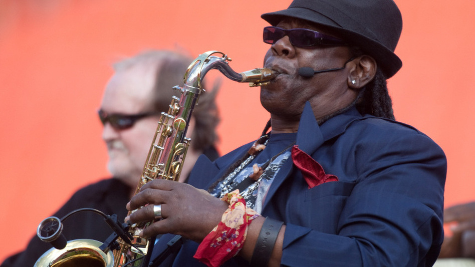 Clarence Clemons performing during halftime of an NFL game last November. (Getty Images)