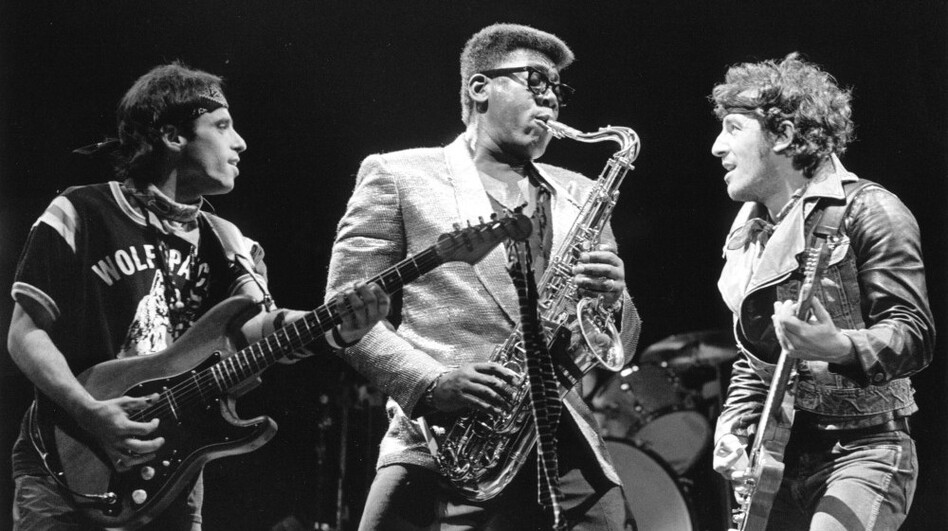 Nils Lofgren, Clarence Clemons and Bruce Springsteen onstage. (WireImage)
