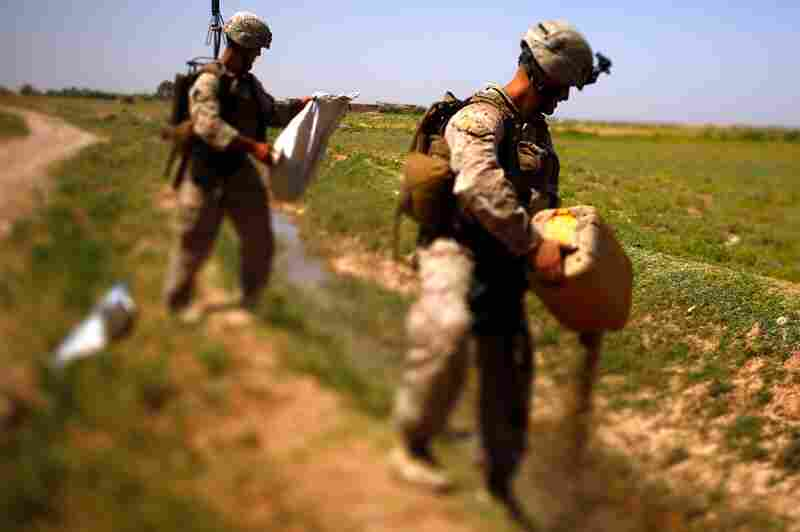Marines dump out a jug of poppy seeds discovered inside a farmhouse in Marjah. In nearly every compound, there are sacks of seeds or dried poppy stalks. The Marines say they've cut a deal with the elders: Don't grow poppy and we'll pay you to set up a local watch unit.