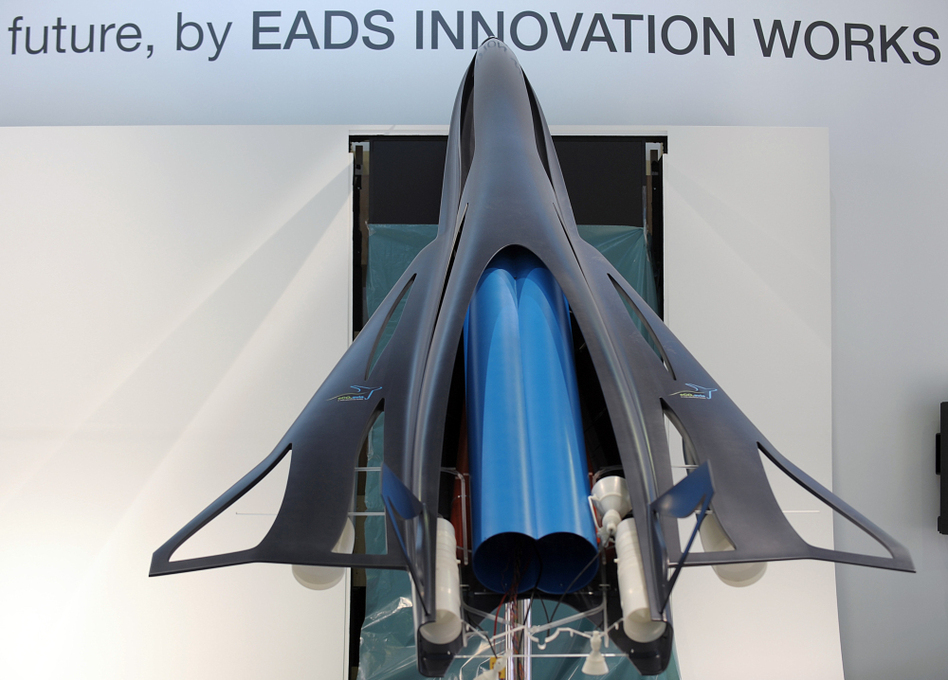 The model of a future commercial high speed transport system called ZEHST (Zero Emission High Speed Transportation), a hypersonic aircraft using rockets and turbojet engines to take corporate customers from Paris to Tokyo in less than three hours.