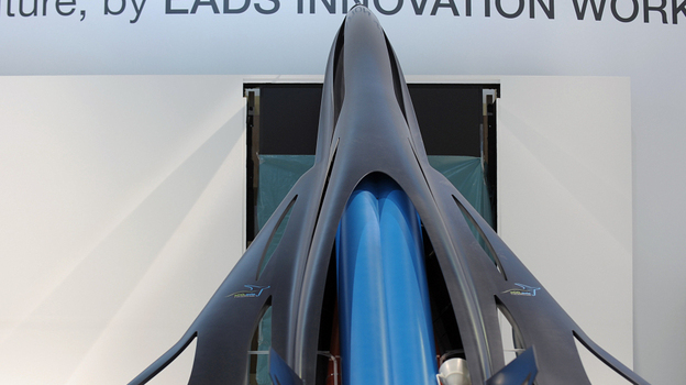 The model of a future commercial high speed transport system called ZEHST (Zero Emission High Speed Transportation), a hypersonic aircraft using rockets and turbojet engines to take corporate customers from Paris to Tokyo in less than three hours. (AFP/Getty Images)