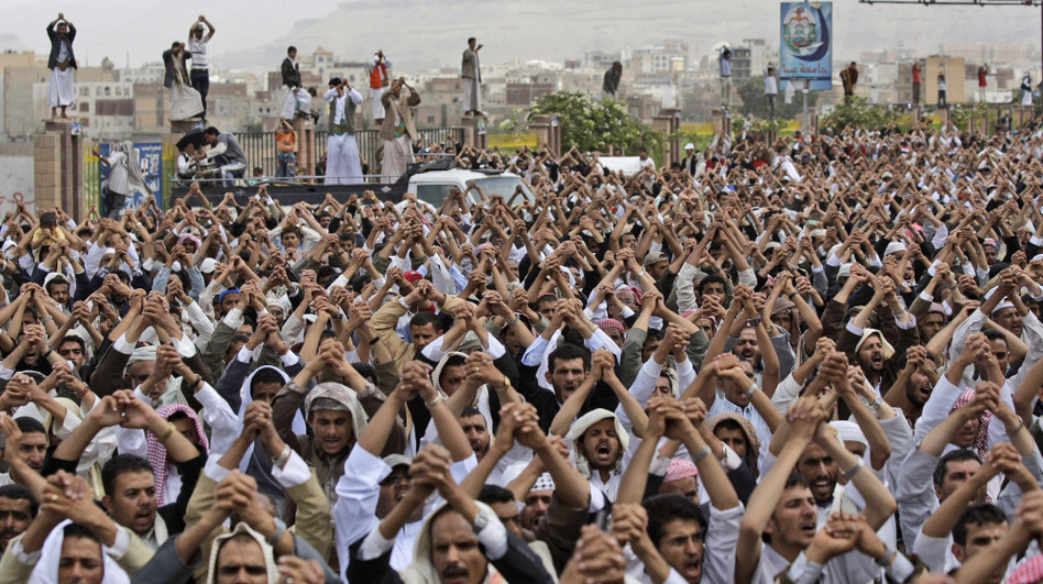 Protesters in the Yemeni capital, Sanaa, demand the resignation of President Ali Abdullah Saleh on June 17. Some Yemen watchers argue that current U.S. policy in the country may create sympathy with al-Qaida where none existed before.