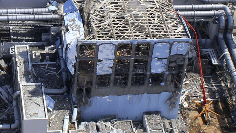 This March 24 aerial photo shows the extent of damage at the Fukushima Dai-ichi nuclear power plant in Japan. The 40-foot-tall tsunami destroyed the electrical and cooling systems, resulting in meltdowns at some of the reactors.