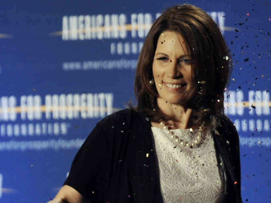 "Republican presidential hopeful Michele Bachmann is hit with a ""glitter bomb&quo"