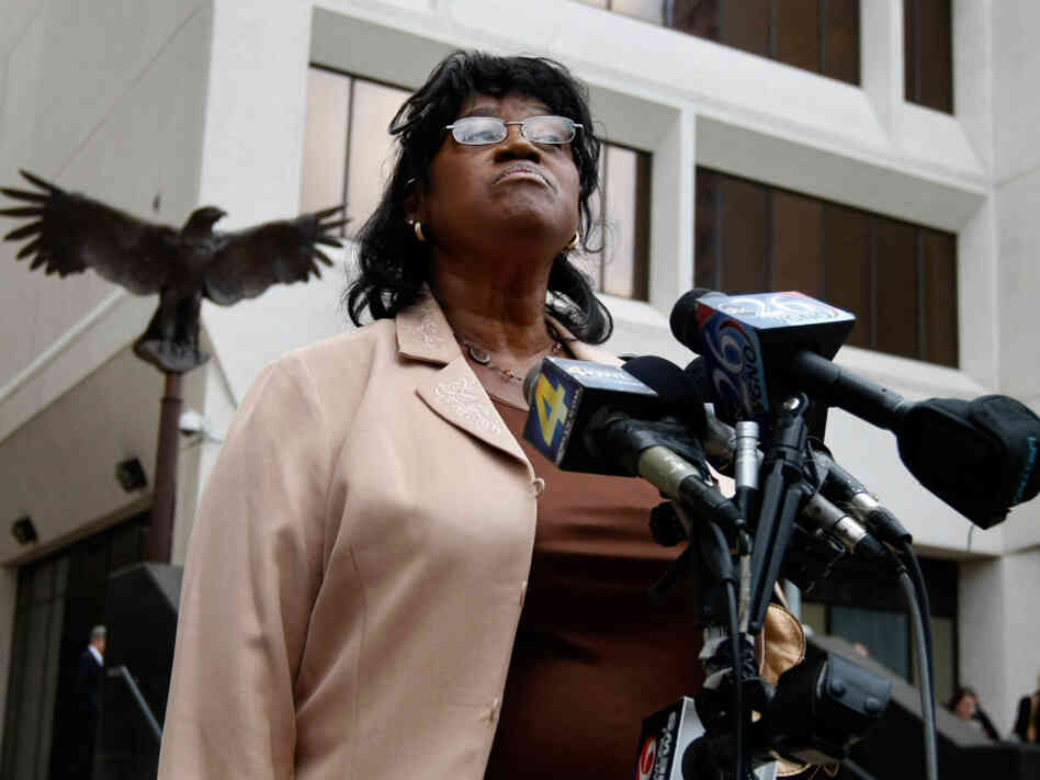 Sherrel Johnson, mother of James Brisette, who was killed on the Danziger Bridge after Hurricane Katrina, speaks to reporters in 2010.