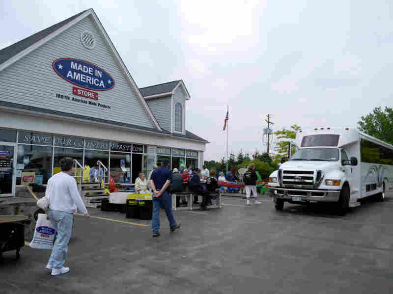 "Tourists visit the Made in America store in Elma, N.Y., on their way to scenic landmarks. ""Makes me think of when I was young and everything was American. And that's the way it should be,"" shopper Gloria Giesa says."