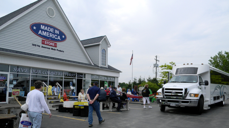 """Tourists visit the Made in America store in Elma, N.Y., on their way to scenic landmarks. """"Makes me think of when I was young and everything was American. And that's the way it should be,"""" shopper Gloria Giesa says."""