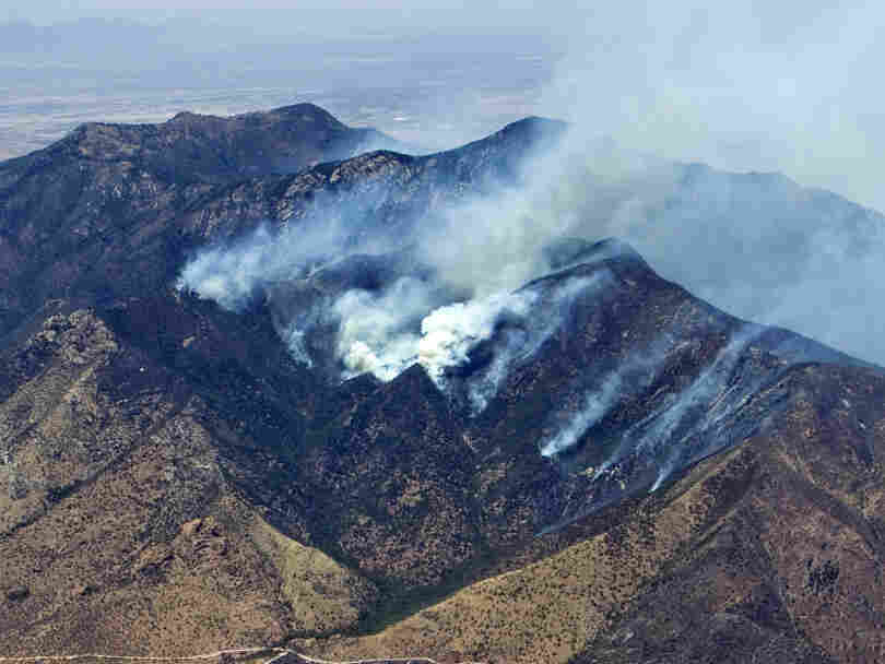 The Monument fire burns Saturday, June 18, 2011 in Sierra Vista, Ariz.