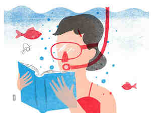 Illustration: A woman wearing a snorkel mask reads a book underwater.