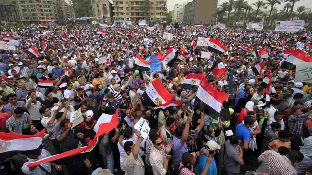 Egyptian protesters wave national fla