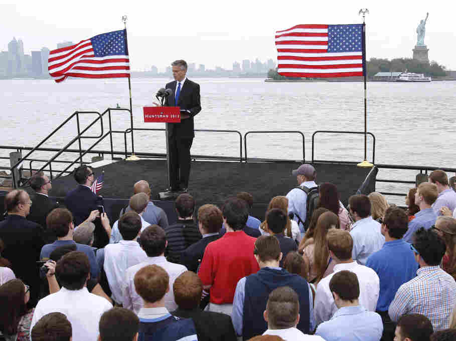 Jon Huntsman, former Utah governor, announces his bid for the 2012 Republican presidential nomination, June 21, 2011, at Liberty State Park in New Jersey.