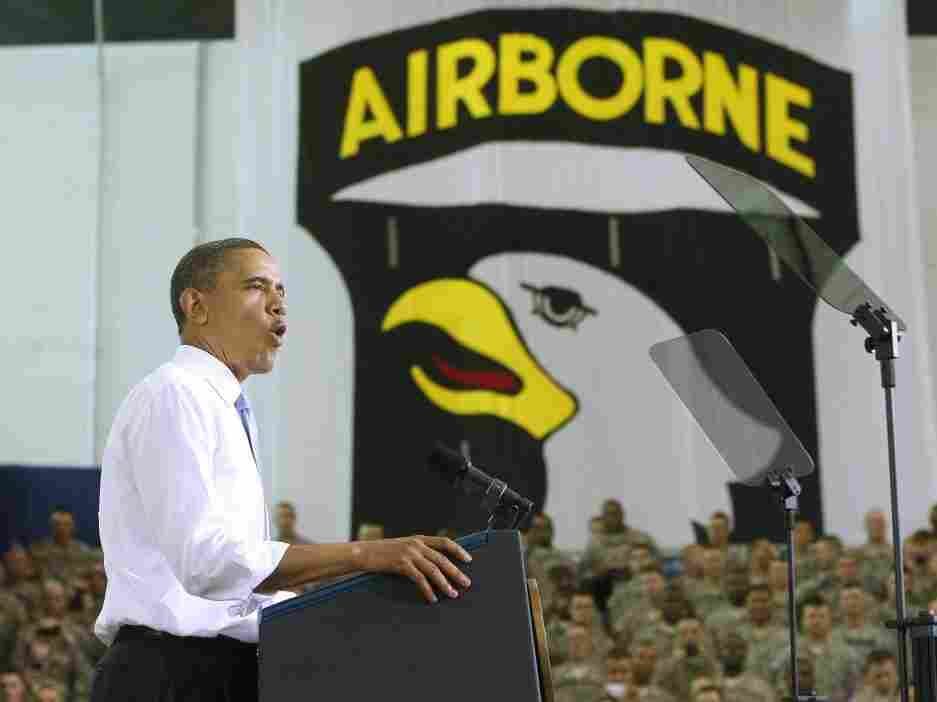President Obama speaks at Ft Campbell, Ky., last month.
