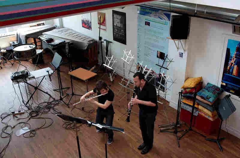 "Downstairs at ICEhaus, Chase and Rubin rehearse Elliott Carter's ""Esprit Rude/Esprit Doux II."""