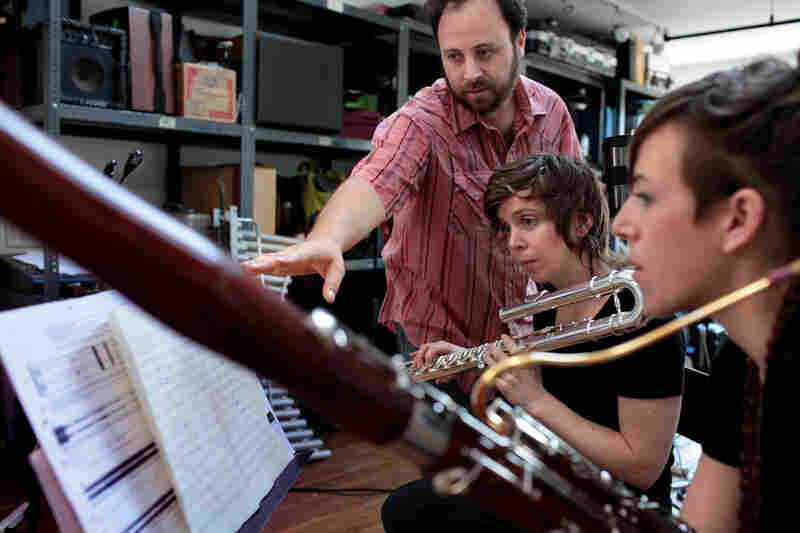 Composer Zack Layton works with Chase and bassoonist Rebekah Heller on a new piece he has written for them.
