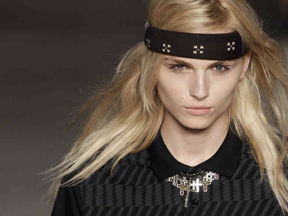 Androgynous male model Andrej Pejic on the runway in Rio de Janeiro, June 4.