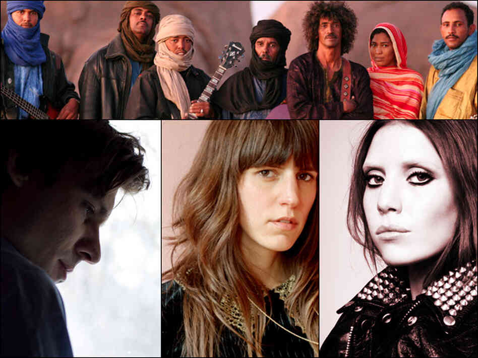 Clockwise from top: Tinariwen, Lykke Li, Eleanor Friedberger, John Maus.