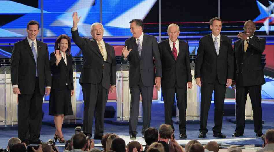 Most of the Republican presidential candidates at a New Hampshire debate last week.