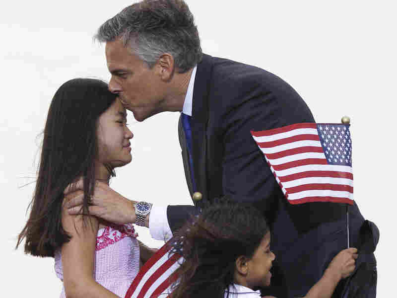 Republican presidential candidate, former Utah Gov. Jon Huntsman greets his daughters after announing his bid, Tuesday, June 21, 2011 , at Liberty State Park in Jersey City, N.J.