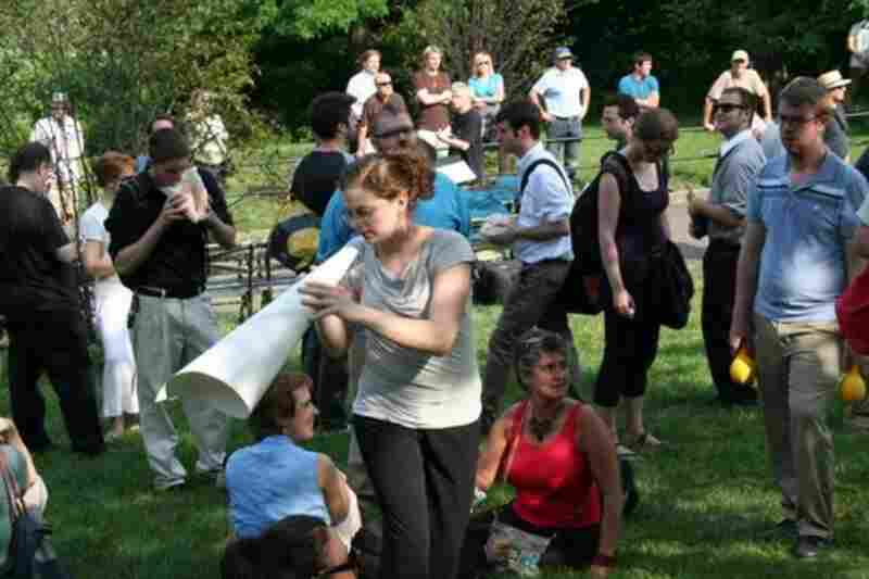 Performers and audience commingled freely in John Luther Adams' 'Inuksuit,' performed in Morningside Park by 99 percussionists.