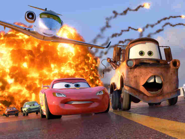 Grem (Joe Mantegna), Acer (Peter Jacobson), Siddeley (Jason Isaacs), Lightning McQueen (Owen Wilson), Mater (Larry the Cable Guy), Finn McMissile (Sir Michael Caine).
