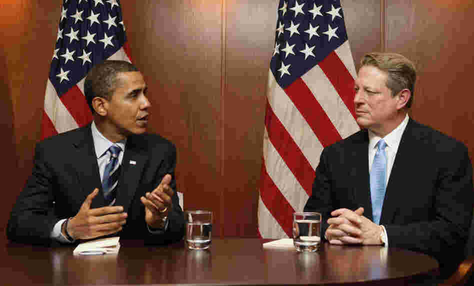 Then President-elect Obama with former Vice President Al Gore in Chicago, Tuesday, Dec. 9, 2008.