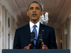 President Obama delivers a televised address from the East Room of the White House on Wednesday.