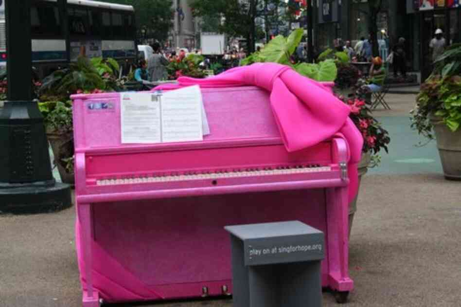 "One of the 88 pianos scattered around the city during Sing for Hope's ""pop-up piano"" installation."