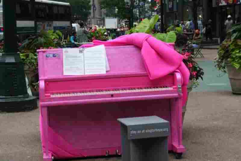 """One of the 88 pianos scattered around the city during Sing for Hope's """"pop-up piano"""" installation."""
