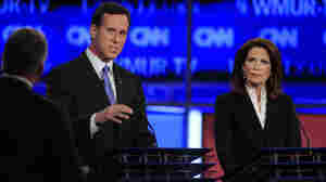 Former Pennsylvania Sen. Rick Santorum and Rep. Michele Bachmann, pictured here at the New Hampshire Republican presidential debate on June 13, have signed a pledge to push through anti-abortion measures if elected president.