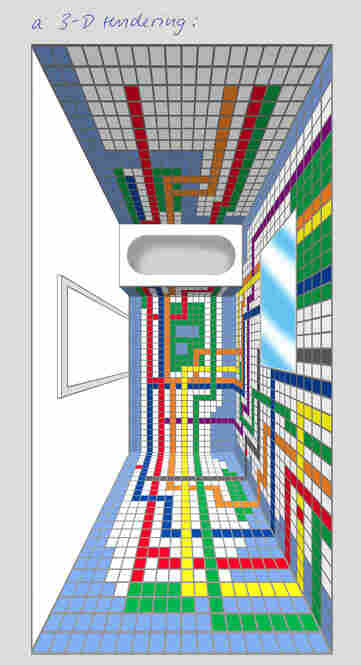 This is a 3-D rendering of what Niemann's bathroom looks like from above.