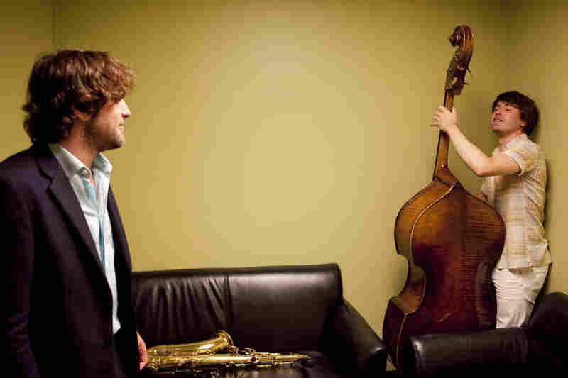 Noah Preminger and Dan Tepfer, backstage.