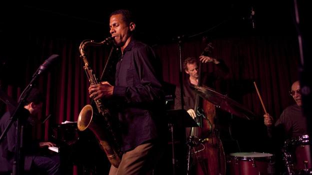 The Mark Turner quartet at the Village Vanguard. L-R: David Virelles, Turner, Ben Street, Paul Motian. (John Rogers for NPR/johnrogersnyc.com)