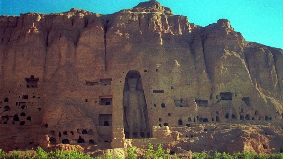 The  larger of the two Buddha statues that towered over the Bamiyan Valley in central Afghanistan.  This photo was taken before a 2001 Taliban campaign that destroyed Buddha  statues throughout Afghanistan. International teams are  now working to restore the sixth century statues. (AP)